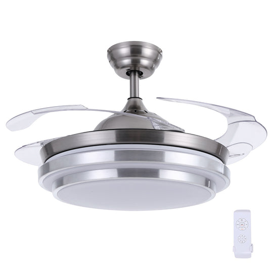 "42"" Ceiling Fan Lamp LED Light Retractable Blade Ceiling Fan with Remote"