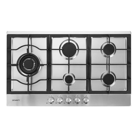Devanti Gas Cooktop 90cm Kitchen Stove Cooker 5 Burner Stainless Steel NG/LPG Silver - HomeOutdoorsDirect