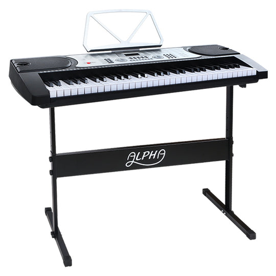 Alpha 61 Keys Electronic Piano Keyboard LED Electric Silver with Music Stand for Beginner - HomeOutdoorsDirect