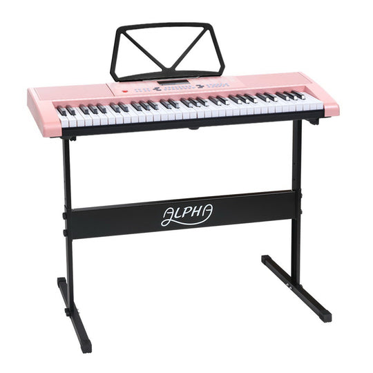Alpha 61 Key Lighted Electronic Piano Keyboard LED Electric Holder Music Stand - HomeOutdoorsDirect