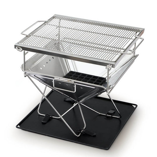 Grillz Camping Fire Pit BBQ Portable Folding Stainless Steel Stove Outdoor Pits - HomeOutdoorsDirect