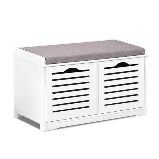 Artiss Fabric Shoe Bench with Drawers - White & Grey - HomeOutdoorsDirect