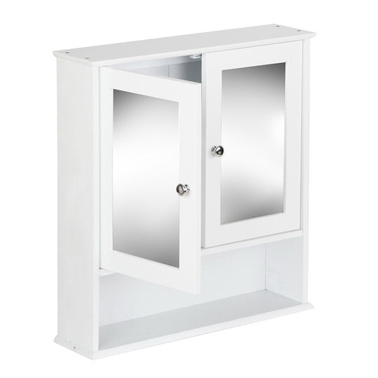 Artiss Bathroom Tallboy Storage Cabinet with Mirror - White - HomeOutdoorsDirect