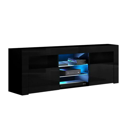 Artiss 145cm RGB LED TV Cabinet Entertainment Unit Stand Gloss Furniture Black - HomeOutdoorsDirect