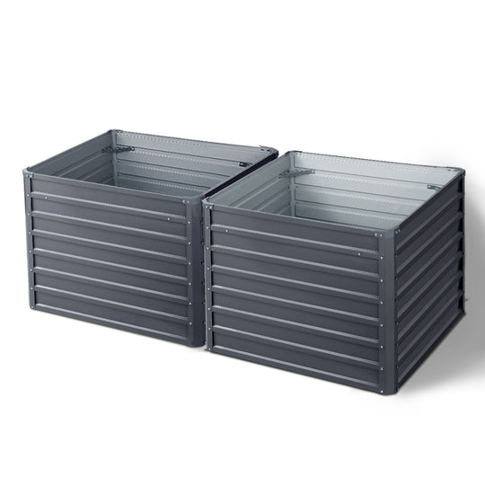 Greenfingers Galvanised Steel Raised Garden Bed Instant Planter 100 x 100 x 77cm Aluminium X2 - HomeOutdoorsDirect