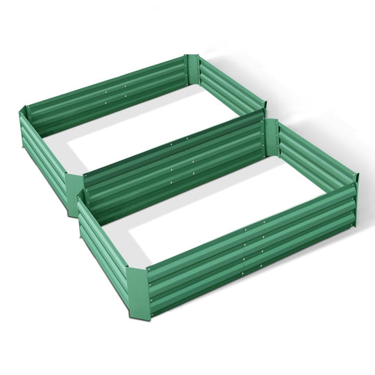 Green Fingers Set of 2 120 x 90cm Raised Garden Bed - Green - HomeOutdoorsDirect