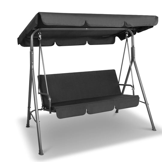 Gardeon 3 Seater Outdoor Canopy Swing Chair - Black - HomeOutdoorsDirect