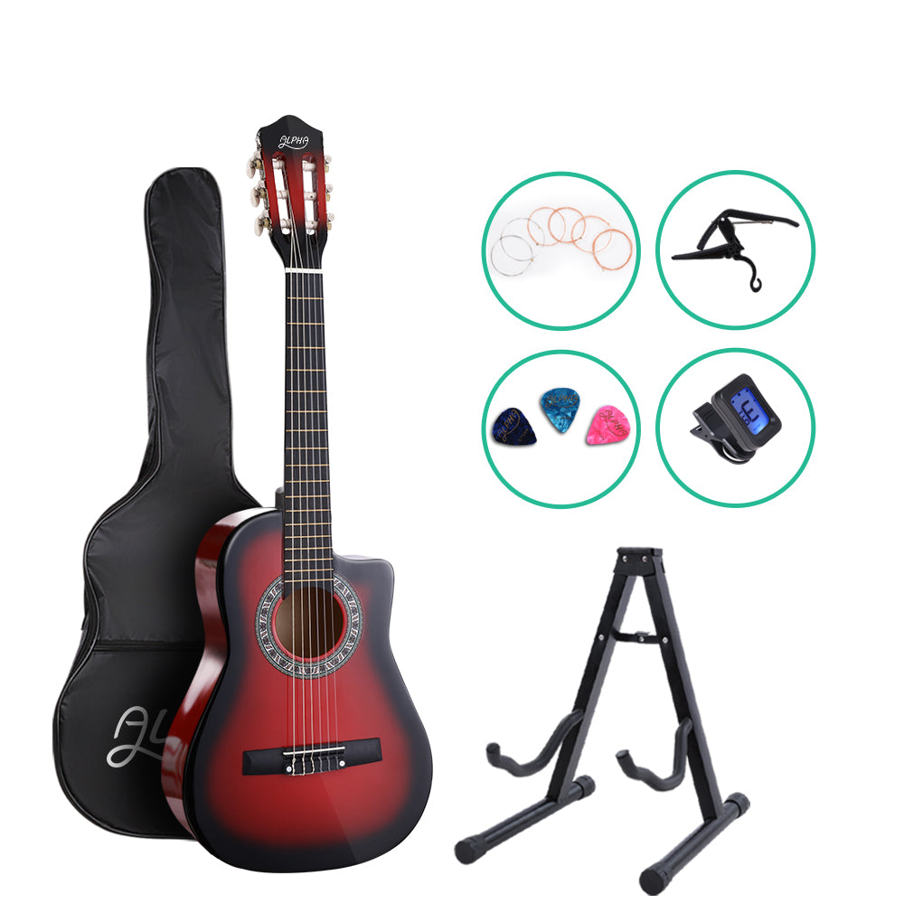 "Alpha 34"" Inch Guitar Classical Acoustic Cutaway Wooden Ideal Kids Gift Children 1/2 Size Red with Capo Tuner"