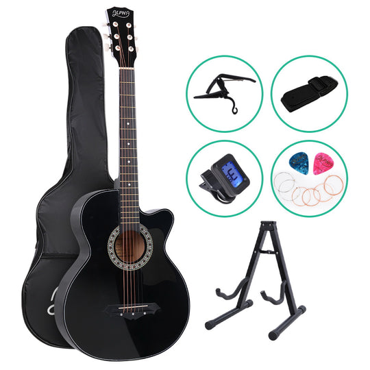ALPHA 38 Inch Wooden Acoustic Guitar with Accessories set Black - HomeOutdoorsDirect