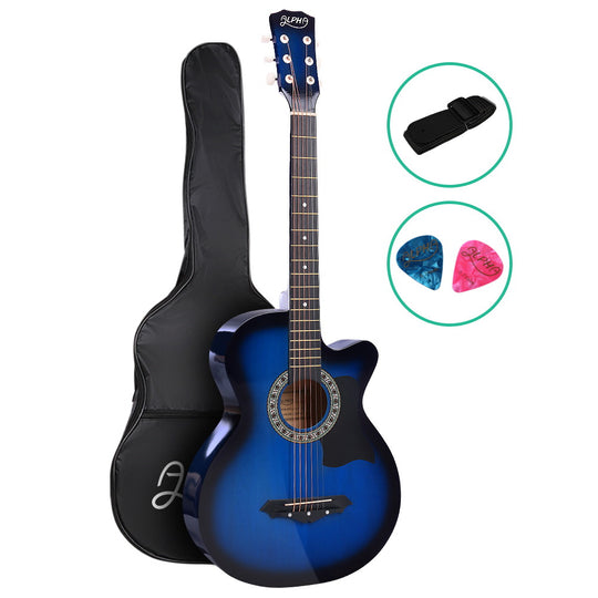 ALPHA 38 Inch Wooden Acoustic Guitar Blue - HomeOutdoorsDirect