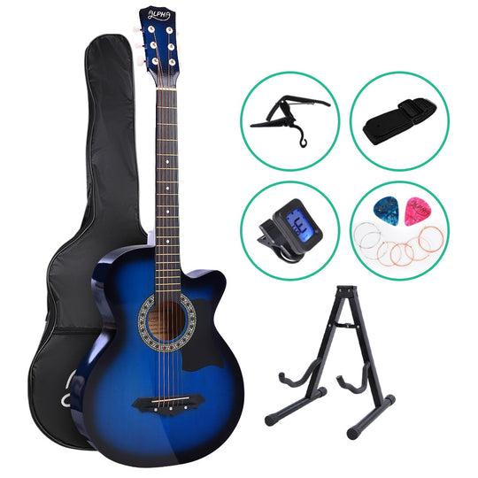 ALPHA 38 Inch Wooden Acoustic Guitar with Accessories set Blue - HomeOutdoorsDirect