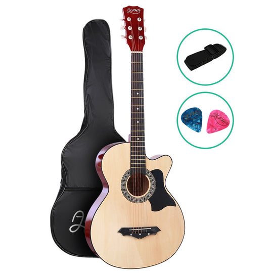 ALPHA 38 Inch Wooden Acoustic Guitar Natural Wood - HomeOutdoorsDirect
