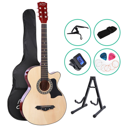 ALPHA 38 Inch Wooden Acoustic Guitar with Accessories set Natural Wood - HomeOutdoorsDirect