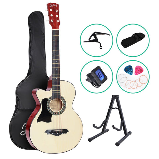 ALPHA 38 Inch Wooden Acoustic Guitar Left handed with Accessories set Natural Wood - HomeOutdoorsDirect