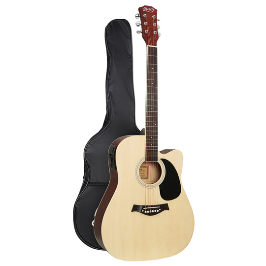 "Alpha 41"" Inch Electric Acoustic Guitar Wooden Classical EQ With Pickup Bass Natural - HomeOutdoorsDirect"