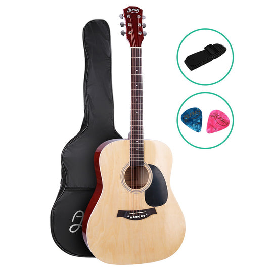 ALPHA 41 Inch Wooden Acoustic Guitar Natural Wood - HomeOutdoorsDirect