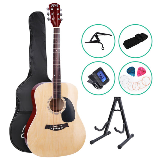 ALPHA 41 Inch Wooden Acoustic Guitar with Accessories set Natural Wood - HomeOutdoorsDirect