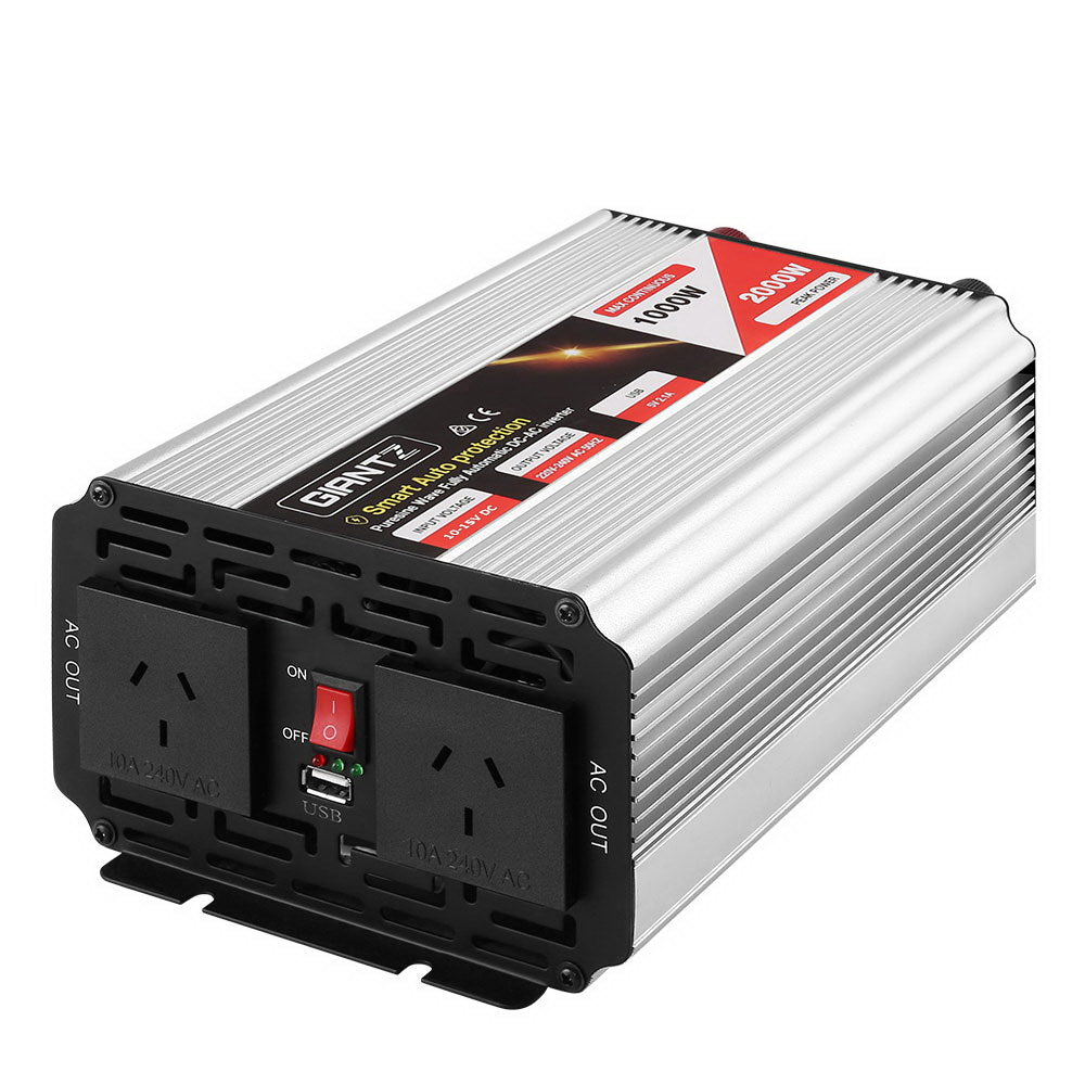 Giantz Power Inverter 1000W or 2000W Pure Sine Wave 12V-240V Camping Boat Caravan