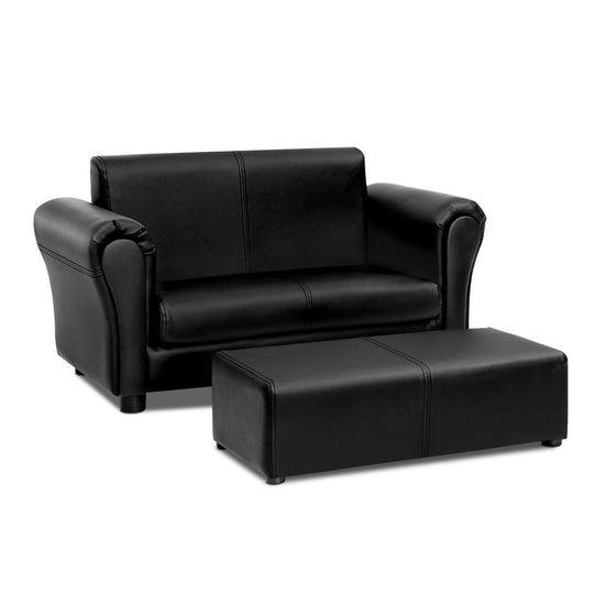 Artiss Kids Sofa Armchair Footstool Set Children Lounge Chair Couch Double Black - HomeOutdoorsDirect