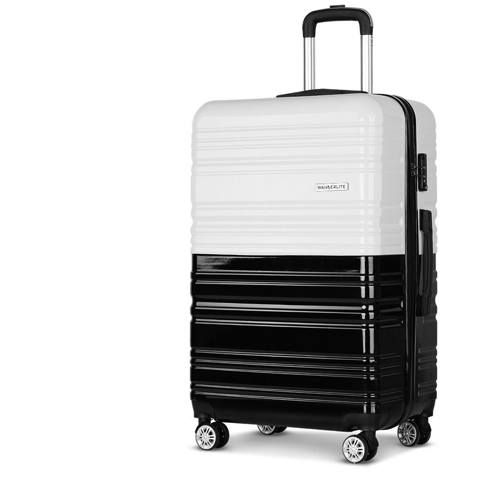 Wanderlite Lightweight Hard Suit Case Luggage Black & White