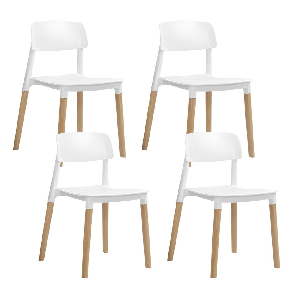 Artiss 4x Belloch Replica Dining Chairs Kichen Cafe Stackle Beech Wood Legs White