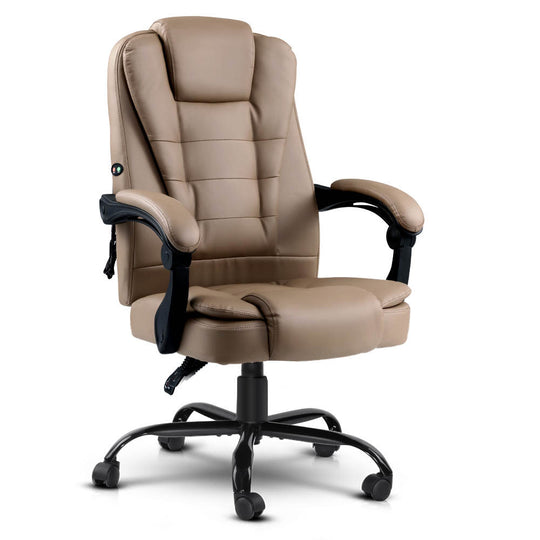 Artiss Massage Office Chair PU Leather Recliner Computer Gaming Chairs Espresso - HomeOutdoorsDirect