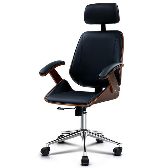 Artiss Wooden Office Chair Computer Gaming Chairs Executive Leather Black - HomeOutdoorsDirect