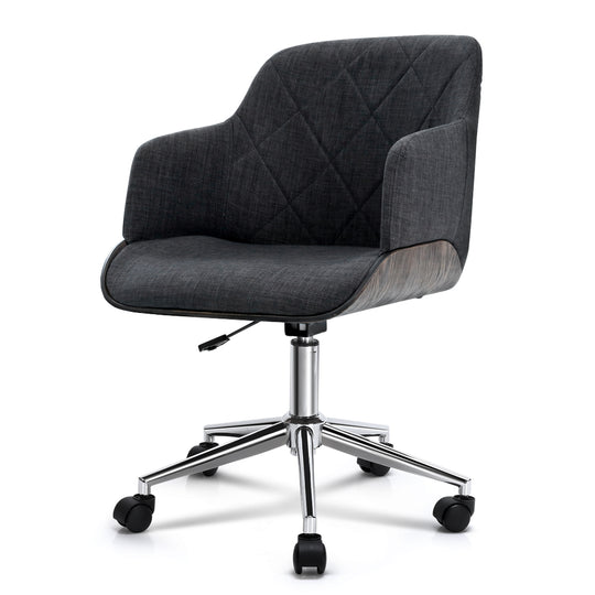 Artiss Wooden Office Chair Computer Gaming Chairs Executive Fabric Grey - HomeOutdoorsDirect