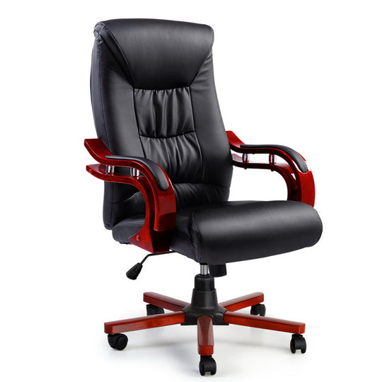 Artiss Executive Wooden Office Chair Wood Computer Chairs Leather Seat Sheridan - HomeOutdoorsDirect