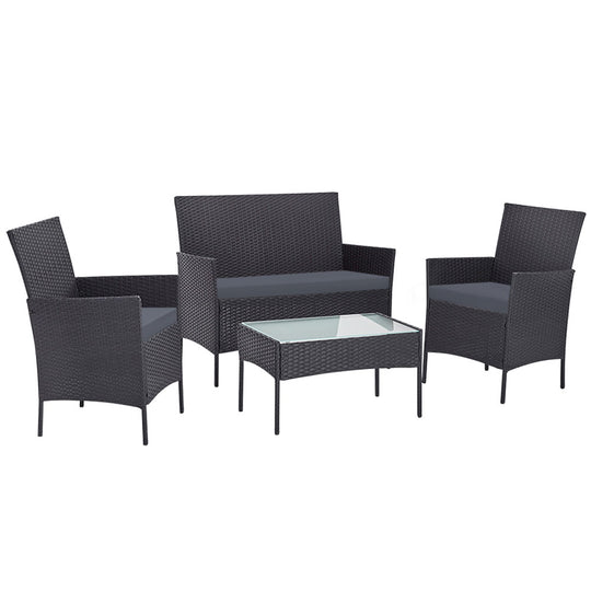 Gardeon Outdoor Furniture Rattan Set Chair Table Dark Grey 4pc - HomeOutdoorsDirect