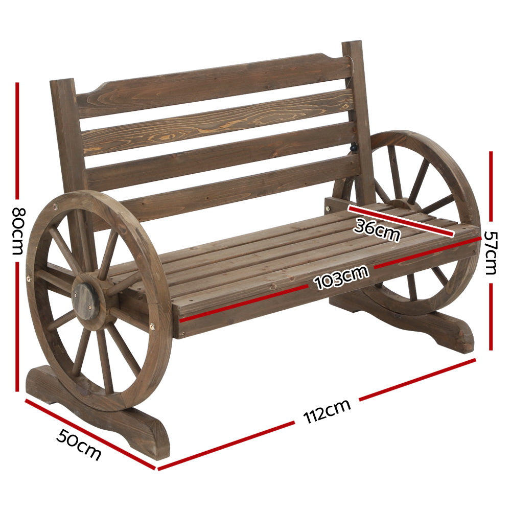 Gardeon Park Bench Wooden Wagon Chair Outdoor Garden Backyard Lounge Furniture - HomeOutdoorsDirect