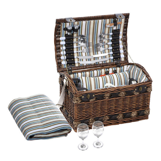 Alfresco 4 Person Wicker Picnic Basket Baskets Outdoor Insulated Gift Blanket - HomeOutdoorsDirect