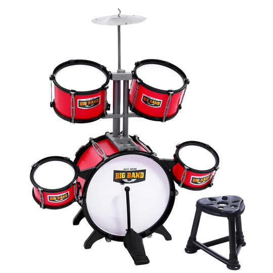 Keezi Kids 7 Drum Set Junior Drums Kit Musical Play Toys Childrens Mini Big Band - HomeOutdoorsDirect