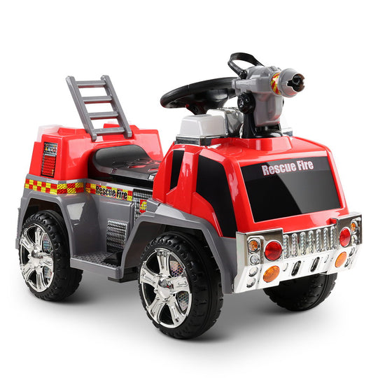 Rigo Kids Ride On Fire Truck Motorbike Motorcycle Car Red Grey - HomeOutdoorsDirect