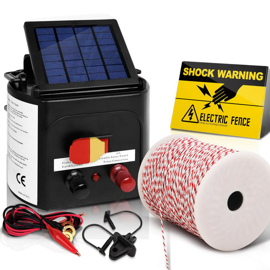 Giantz 5km Solar Electric Fence Energiser Charger with 500M Tape and 25pcs Insulators - HomeOutdoorsDirect