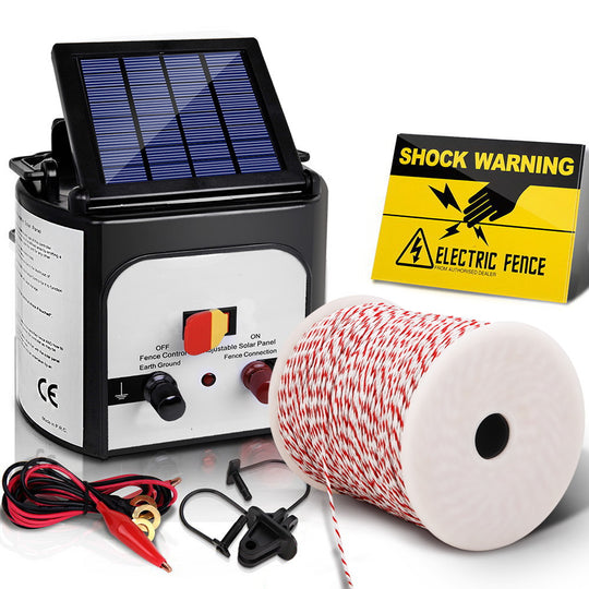 Giantz 8km Solar Electric Fence Energiser Charger with 500M Tape and 25pcs Insulators - HomeOutdoorsDirect