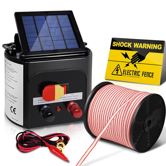 Giantz 5km 0.15J Solar Electric Fence Energiser Energizer Charger with 400M Tape - HomeOutdoorsDirect