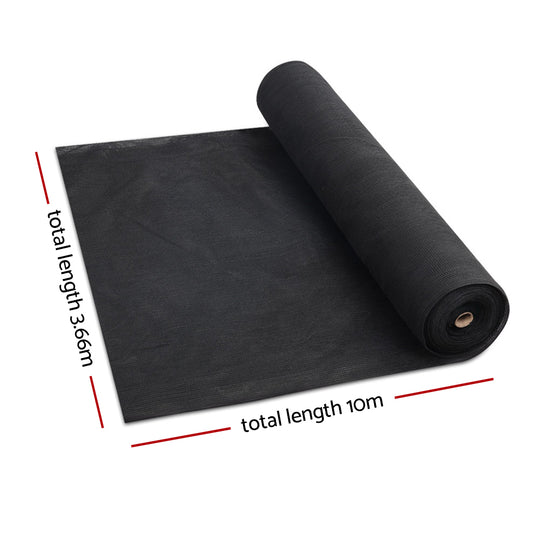 Instahut 3.66x10m 50% UV Shade Cloth Shadecloth Sail Garden Mesh Roll Outdoor Black - HomeOutdoorsDirect