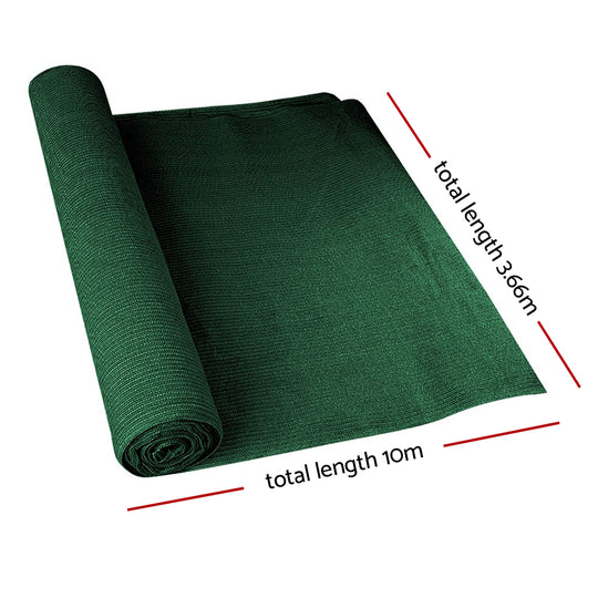Instahut 90% Sun Shade Cloth Shadecloth Sail Roll Mesh 3.66x10m 195gsm Green - HomeOutdoorsDirect