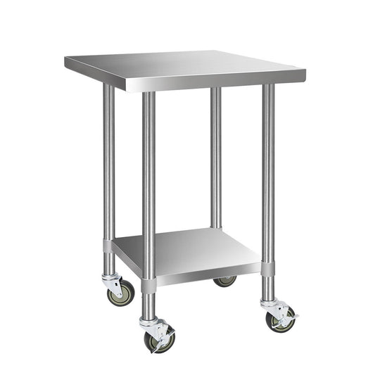 Cefito 762 x 762mm Commercial Stainless Steel Kitchen Bench with 4pcs Castor Wheels - HomeOutdoorsDirect