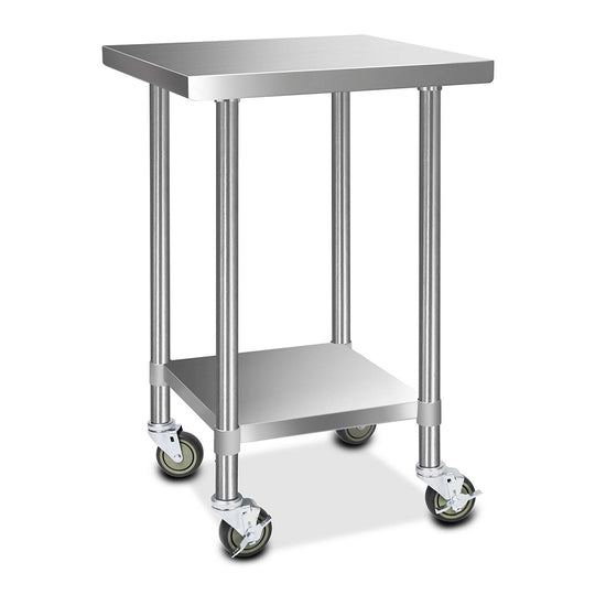 Cefito 430 Stainless Steel Kitchen Benches Work Bench Food Prep Table with Wheels 610MM x 610MM - HomeOutdoorsDirect