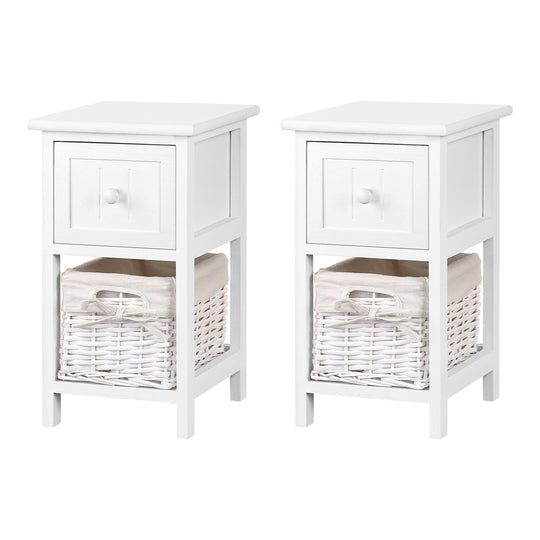 2 PCS Ariss Bedside Table - White - HomeOutdoorsDirect