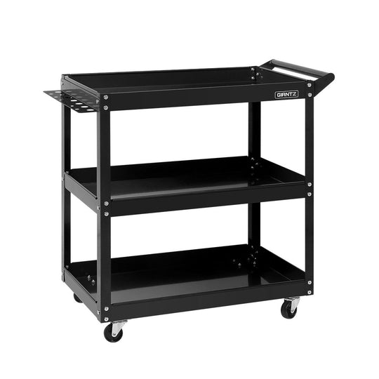 Giantz Tool Cart 3 Tier Parts Steel Trolley Mechanic Storage Organizer Black - HomeOutdoorsDirect