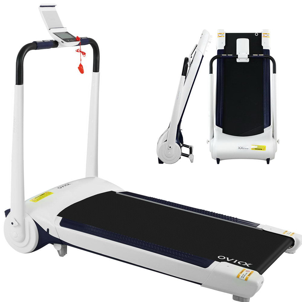 OVICX Electric Treadmill Q1 Home Gym Exercise Machine Fitness Equipment Compact White - HomeOutdoorsDirect