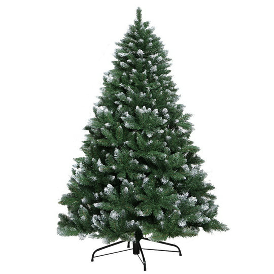 Jingle Jollys 6FT Christmas Snow Tree - Green - HomeOutdoorsDirect