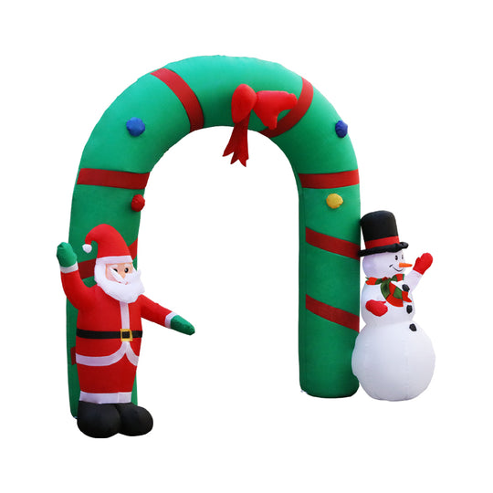 Jingle Jollys 2.8M Christmas Inflatable Giant Arch Way Santa Snowman Light Decor - HomeOutdoorsDirect