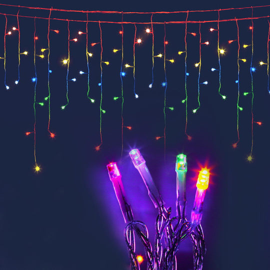 Jingle Jollys 500 Icicle Lights - Multi Colour - HomeOutdoorsDirect