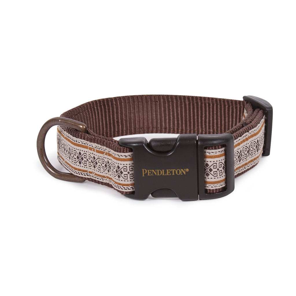 Pendleton Westerly Brown Tan Designer Premium Grosgrain Ribbon Stitched Nylon Pet Dog Collar
