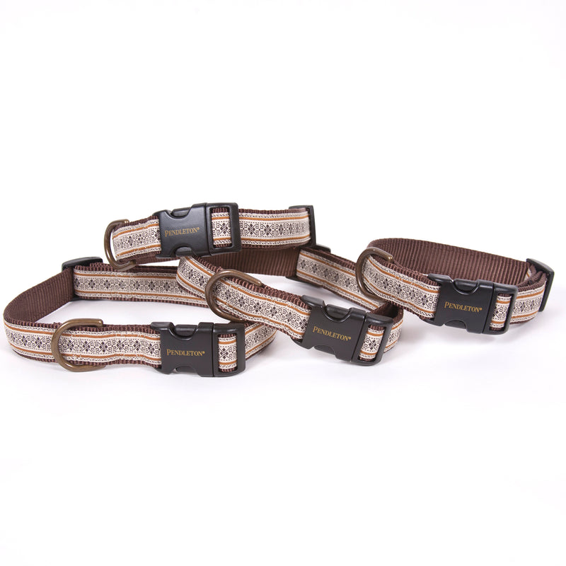 Pendleton Designer Westerly Brown Native Indigenous Design Upscale Premium Luxury Dog Collar & Leash Set