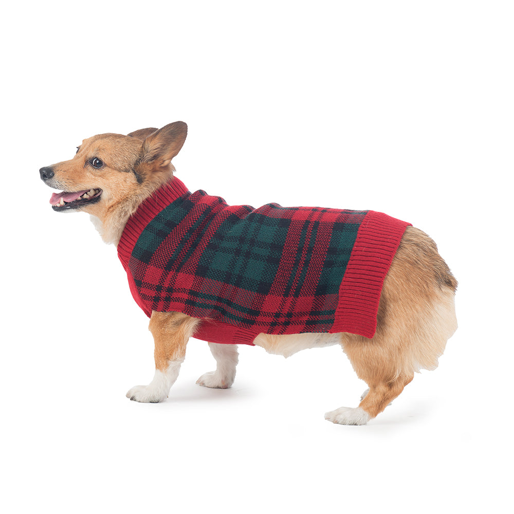 Pendleton Designer Red & Green McCormick Tartan Plaid 100% Ultra-Soft Acrylic Warm Pet Dog Sweater